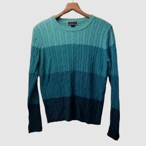 Ombré Color Block Cable Knit Sweater Teal